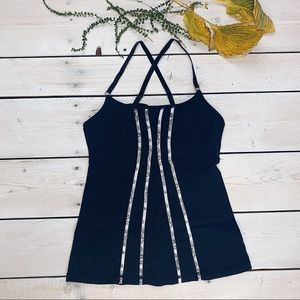 lululemon athletica | Black Tank w/Paisley Stripes